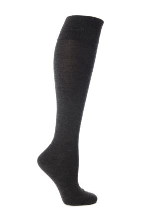 Ladies 1 Pair Elle Wool and Viscose Plain Knee High Socks Charcoal