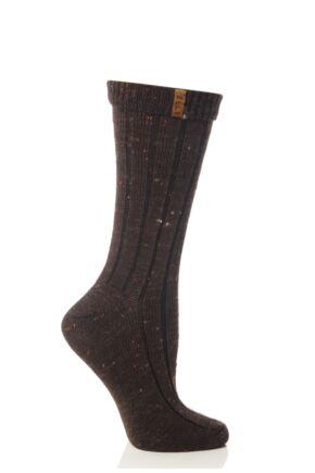Ladies 1 Pair Elle Nepped TOT Wool Mix Boot Socks