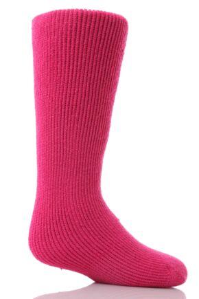 Kids 1 Pair SockShop Long Heat Holders Thermal Socks Hot Pink 2-5.5