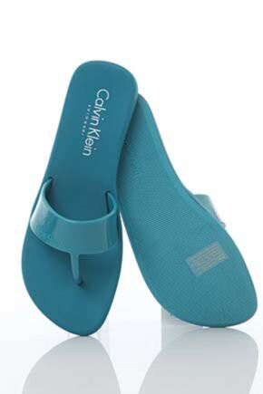 Ladies 1 Pair Calvin Klein Luxe Flip Flops 75% OFF Teal L