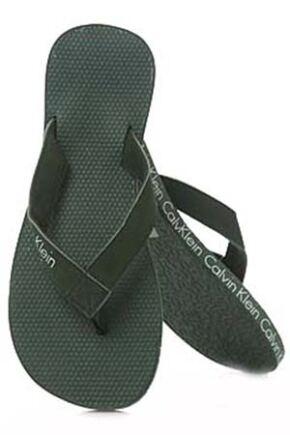 Mens 1 Pair Calvin Klein Logo Tape Flip Flops Eco Green L