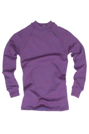 Kids 1 Pack Ussen Crew Neck Winter Thermal Long Sleeved T-Shirt 50% OFF Purple Marl 6-8