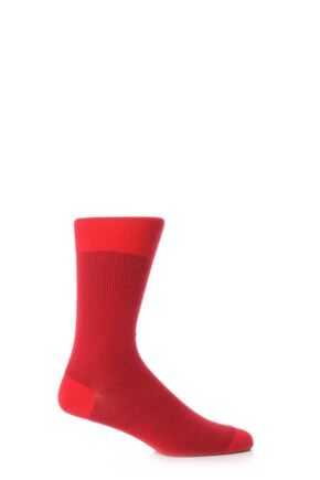 Mens 1 Pair Falke Fine Shadow Wool Rib Socks Red 7-8