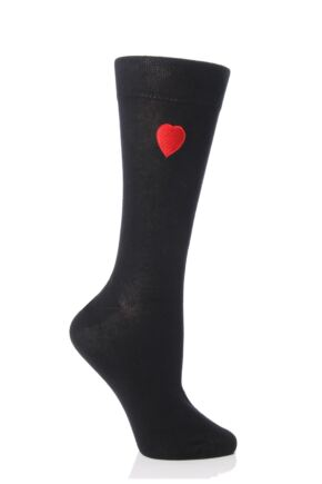 Ladies 1 Pair SockShop Valentines Love Heart Socks with Smooth Toe Seams