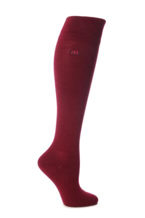 Ladies 1 Pair Elle Wool and Viscose Plain Knee High Socks Rouge