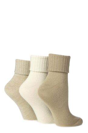 Ladies 3 Pair Jennifer Anderton Plain Pastel Super Soft Turn Over Top Socks