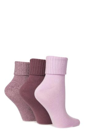 Ladies 3 Pair Jennifer Anderton Plain Pastel Super Soft Turn Over Top Socks Purples