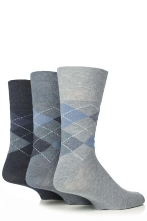 Mens 3 Pair Gentle Grip Argyle Mix Socks