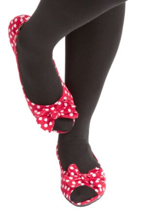 Ladies 1 Pair Rollasole Deluxe Range Dotty For You Red Polka Dot Shoes Large