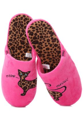 Ladies 1 Pair Totes Leopard Cat Novelty Mule Style Slippers 25% OFF Leopard Cat L