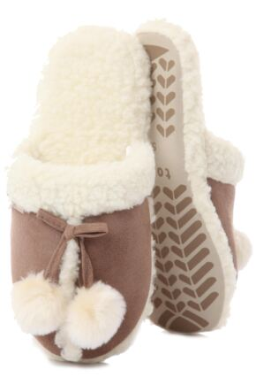 Ladies 1 Pair Totes Pom Pom Sheep Skin Effect Mule Style Slippers 25% OFF This Style Tan S