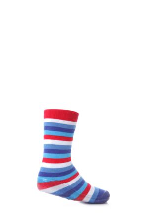 Boys 1 Pair SockShop Striped Gripper Slipper Socks Blue 9-10.5