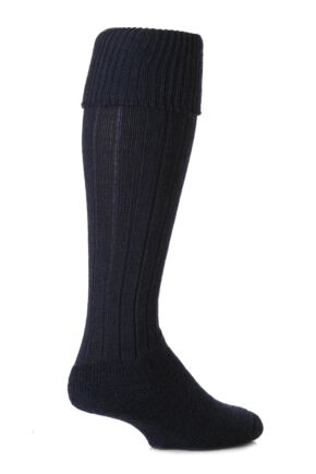 Mens 1 Pair SockShop of London Knee Length Wool Rib Walking Socks Navy