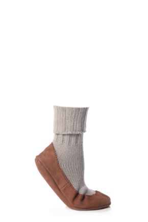 Ladies 1 Pair Falke Cashmere Blend Cottage Socks Grey 37-38