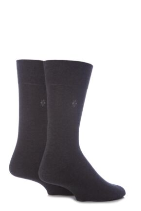 Mens 2 Pair Burlington Everyday Cotton Socks Anthracite Melange