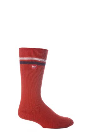 Mens 1 Pair Heat Holders For Football Fans Socks In Red, White and Navy Red / White / Navy