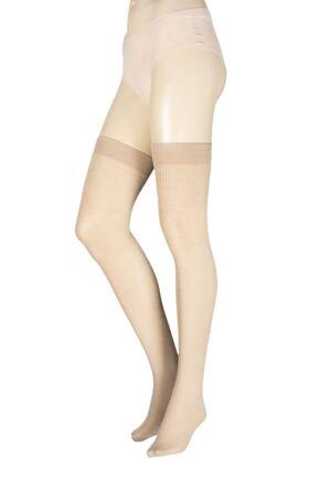 Ladies 1 Pair Trasparenze Dora Ribbed Wool Over The Knee Socks Stone