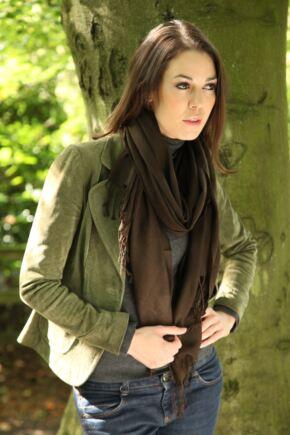 Ladies Fraas 100% Plain Wool Wrap Brown
