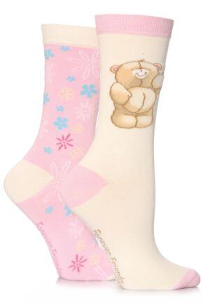 Girls 2 Pair Forever Friends Bear and Flower Socks