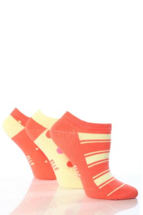 Girls 3 Pair Young Elle Patterned Cotton Trainer Socks Red 6-8