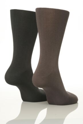 Mens 2 Pair SockShop Plain Bamboo Socks In 4 Colours
