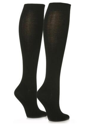 Ladies 2 Pair Sockshop Plain Bamboo Knee High Socks Black