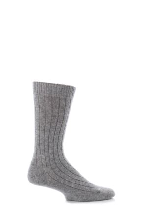 Mens 1 Pair Pantherella 85% Cashmere Rib Socks