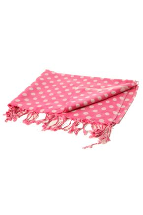 Ladies Bewitched Polka Dot Linen Effect Scarf 33% OFF Rose / White
