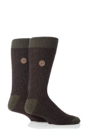 Mens 2 Pair Jeep Spirit Cable Socks