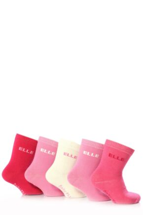Girls 5 Pair Baby Elle Pink Plain Socks