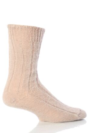 Mens 1 Pair J Alex Swift 100% Wool Rib Bed Socks Fawn