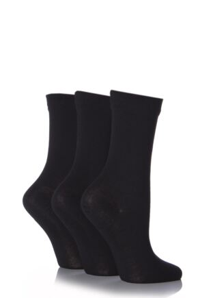 Ladies 3 Pair SockShop Gentle Bamboo Socks with Smooth Toe Seams in Plains and Stripes Black