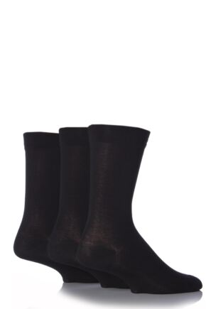 Mens 3 Pair SockShop Comfort Cuff Plain Bamboo Socks Black 6-11