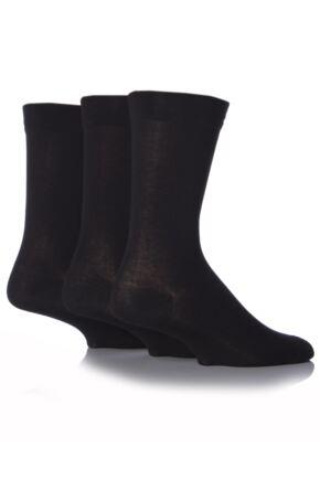 Mens 3 Pair SockShop Comfort Cuff Plain Bamboo Socks