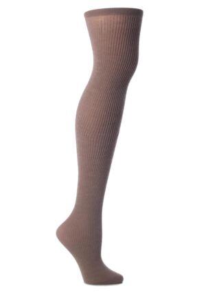 Ladies 1 Pair Trasparenze Dora Ribbed Wool Over The Knee Socks Noisette