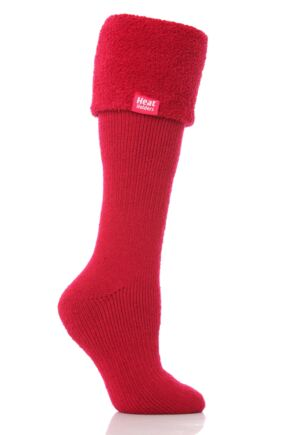 Ladies 1 Pair SockShop Wellington Boot Heat Holders Thermal Socks Ruby