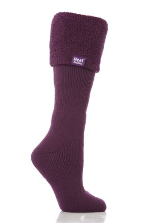 Ladies 1 Pair SockShop Wellington Boot Heat Holders Thermal Socks Amethyst