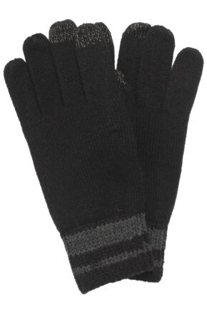 Mens 1 Pair Isotoner Smartouch Chunky Knit Stripe Gloves