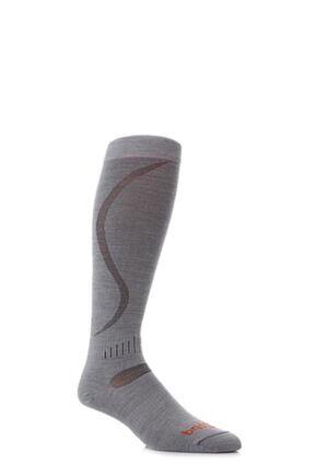 Mens and Ladies 1 Pair Bridgedale Ultra Fit Ski Socks Dove Grey M