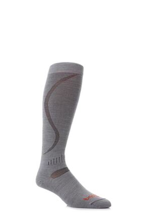 Mens and Ladies 1 Pair Bridgedale Ultra Fit Ski Socks Dove Grey L
