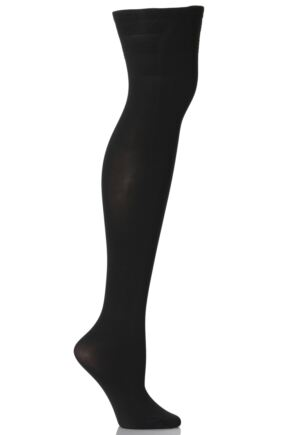 Ladies 1 Pair Falke Pure Matt 50 Hold Ups Black