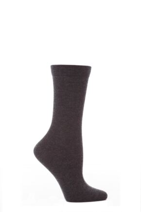 Ladies 1 Pair Elle Wool and Viscose Plain Socks Charcoal