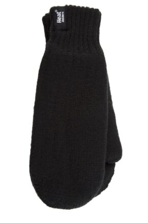 Mens 1 Pair Heat Holders 2.5 Tog Heatweaver Yarn Mittens In Black