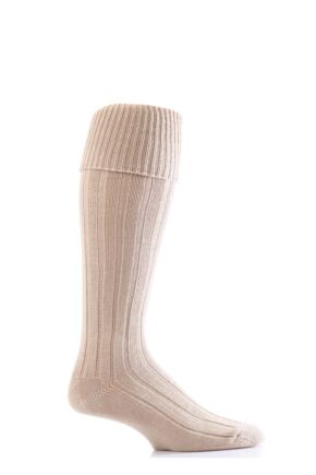 Mens 1 Pair Glenmuir Birkdale Golf Cotton Knee High Socks with Turn Over Cuff Oatmeal 12-14