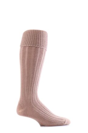 Mens 1 Pair Glenmuir Birkdale Golf Wool Knee High Socks with Turn Over Cuff Fawn
