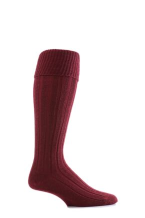Mens 1 Pair Glenmuir Birkdale Golf Wool Knee High Socks with Turn Over Cuff Burgundy