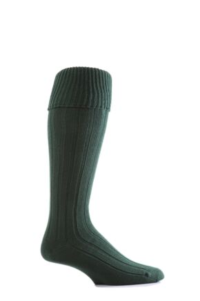 Mens 1 Pair Glenmuir Birkdale Golf Wool Knee High Socks with Turn Over Cuff Bottle Green