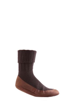 Mens 1 Pair Falke Cottage Slipper Socks Brown 7-8