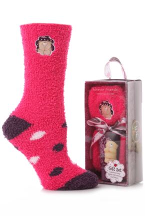 Ladies 1 Pair Forever Friends Cosy Socks and Foot Lotion Gift Set 30% OFF