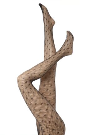 Ladies 1Pair Elle Hearts Net Tights